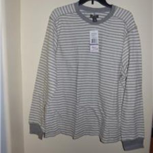 Kenneth Cole Striped Crew Neck Long Sleeved Tee